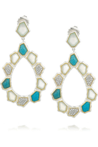 Kara Ross Silver Turquoise and Sapphire Earrings