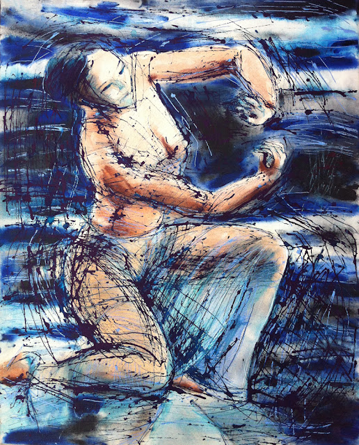"""Celestial Dancer III, 2012, 24""""x30"""", 61cmx76cm, oils, acrylic inks on canvas.  Celestial Dancer III was finished, 7 years after it was begun, with slashes of permanent blue ink (two days ago, she is still fresh). She hangs on my living room wall, where already she has received compliments from visitors. I am fairly shocked, and delighted, that this painting is finished!"""