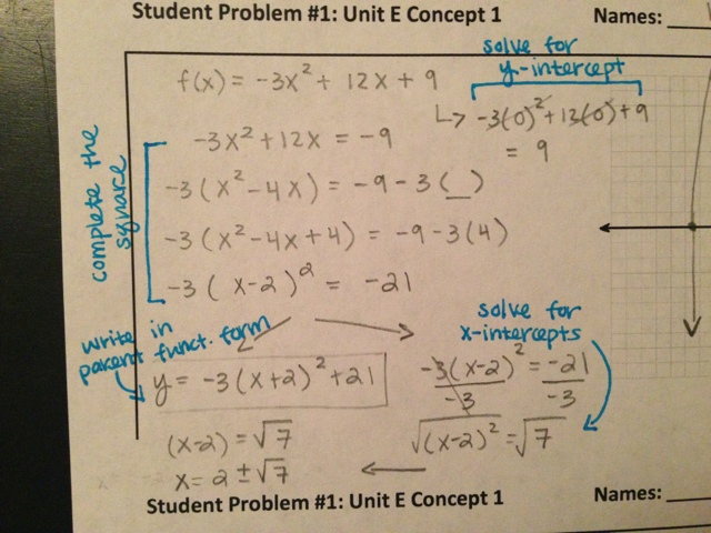 Math Analysis Sp1 Unit E Concept 1 Identifying And Accurately