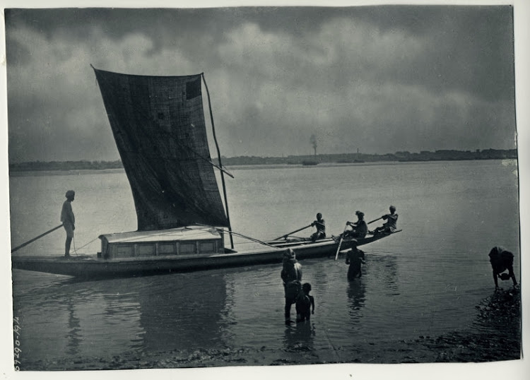 Row Boat with Rectangular Sail