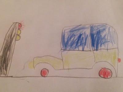 Auto mit Ampel von Fünfjährigem gemalt