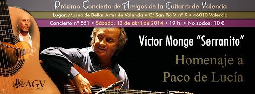 """Víctor Monge """"Serranito"""" en concierto de Amigos de la Guitarra de Valencia"""