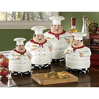 [SEE MORE PRODUCT IMAGES AND REVIEWS HERE]. Bistro Fat Chef Canister Set  Ceramic Kitchen Decor