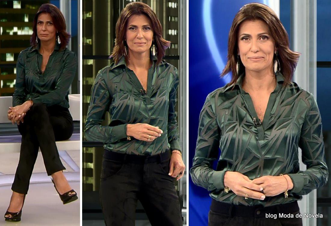 moda do programa Domingo Legal - look da Janine Borba dia 6 de julho