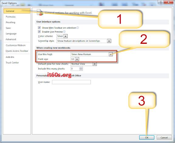 Cách cài đặt font chữ mặc định cho Microsoft Excel 1