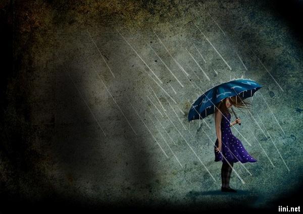 ảnh hoạt hình cô gái đi dưới mưa
