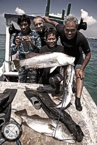 Spearfishing Bali Indonesia Barramundi, Mangrove Jack and Mullet