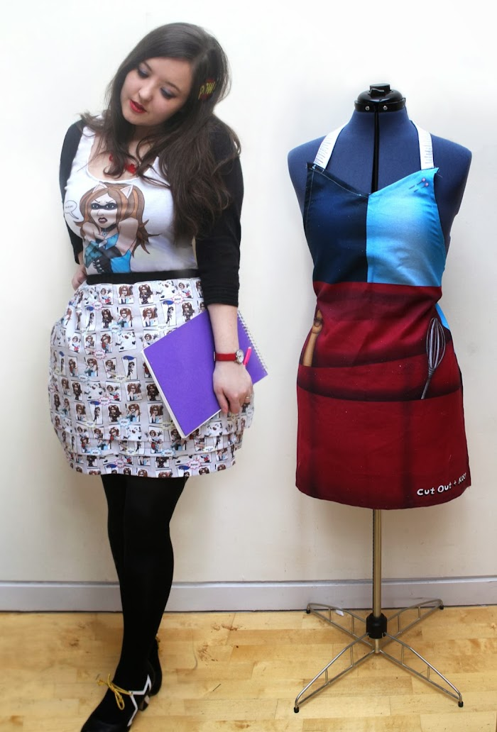 Crafterella Apron, Top & Comic Strip Skirt