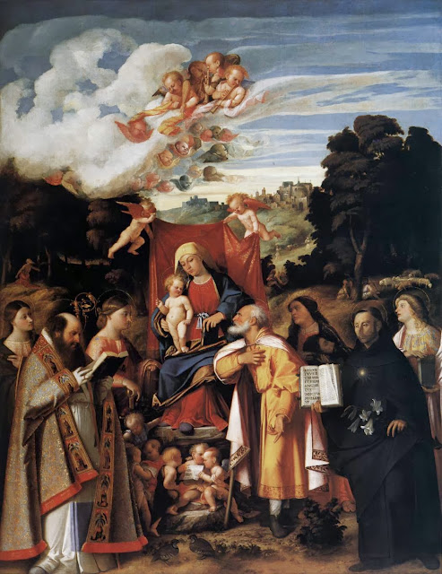 Giovanni Cariani - Virgin Enthroned with Angels and Saints