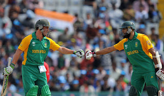 AB de Villiers and Hashim Amla having record third-wicket partnership in World Cup, Netherlands v South Africa, World Cup 2011, Mohali, March 3, 2011