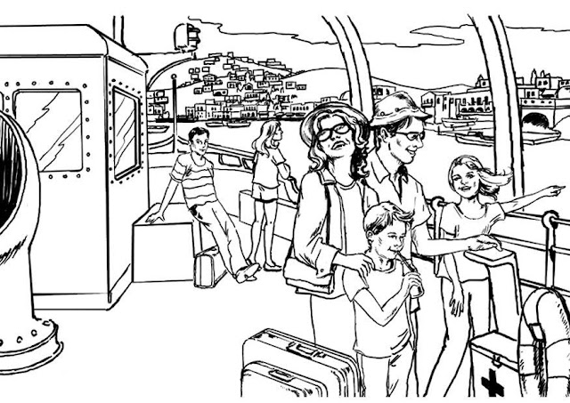 Family vacations coloring pages