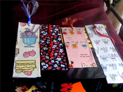 fabric homemade bookmarks