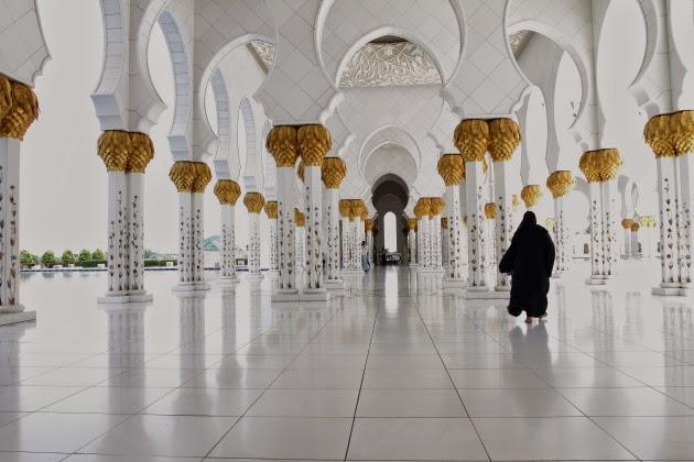 Walking along the corridors of the beautiful Sheikh Zayed Grand Mosque