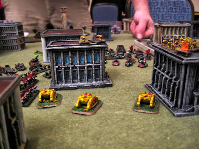 Infantry holds the left flank.