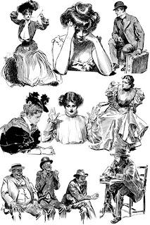 Люди на графических рисунках викторианской эпохи