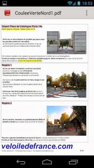 visualisation des descriptions de repère dans le guide complet en PDF depuis un smartphone