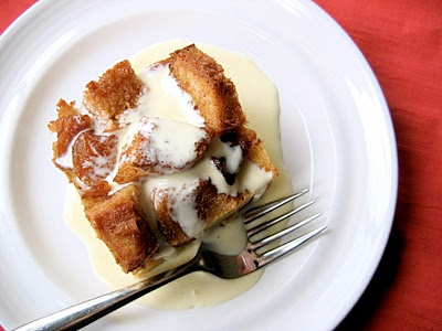 top down shot of bread pudding
