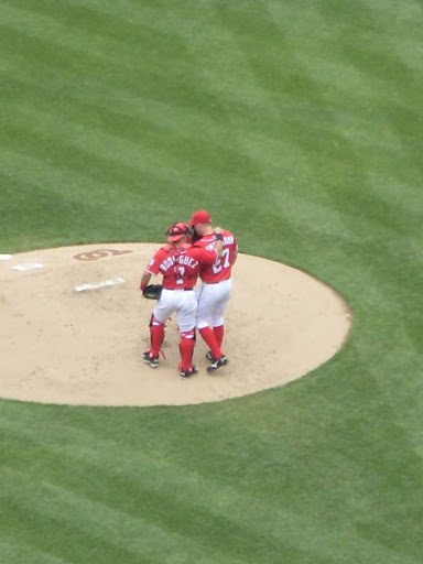 Pep talk at the mound