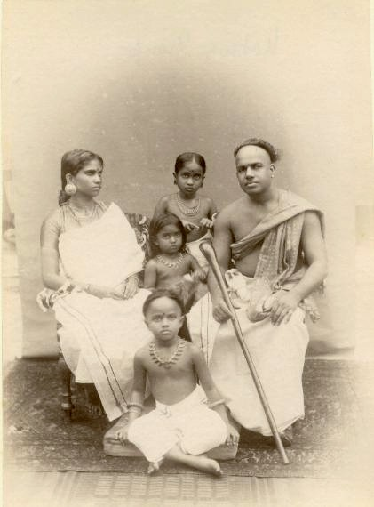 Albumen Photograph of a Indian Family with Children - 1870's