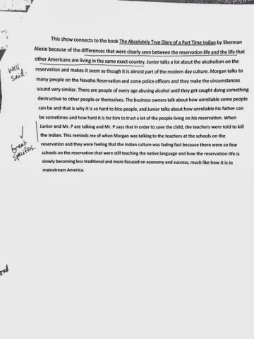 sherman alexie response paragraph Essay on reservation blues by sherman alexie  the story starts with a joke by  having thomas sit down inside a refrigerator in response to junior's comment as .