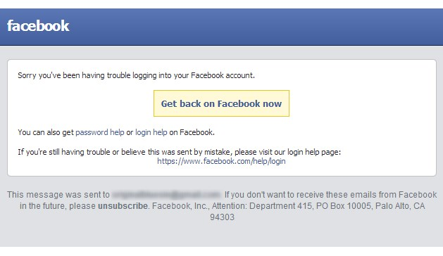 facebook login problem screen