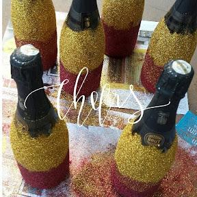 Glitterized champagne bottles