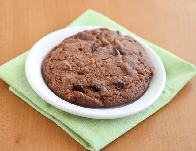 photo of a large cookie on a plate