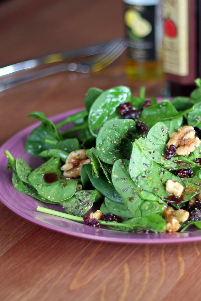 Cranberry, Walnut, and Chia Seed Spinach Salad from dontmissdairy.com