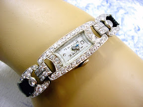 Art Deco Diamond Platinum Watch Cocktail 1940s 2.5cts