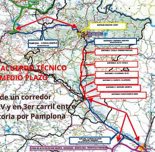 Plano de la nueva situación del tren navarro, según el consejero de Fomento