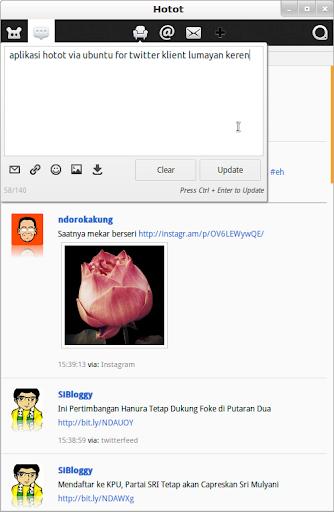 Aplikasi Hotot di ubuntu seperti aplikasi mobile