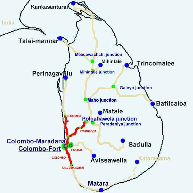 Sri Lanka railway electrification map of Stage 02