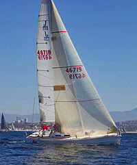 J/120 sailboat sailing in Border Run Race