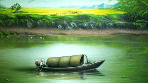 ảnh thuyền đò nên thơ