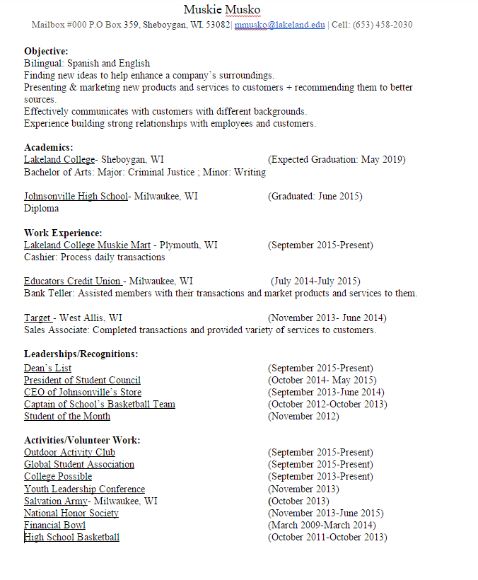 having the perfect resume for college students lakeland university