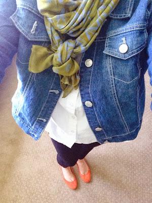 Denim jacket with scarf fashion