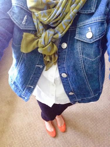 Fashion Friday, denim jacket and scarf, orange flats