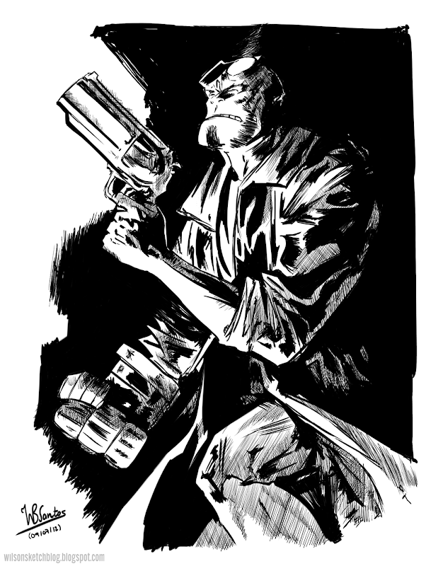 Study of Gabriel Hardman's Hellboy Sketch, using Krita 2.5 Beta.