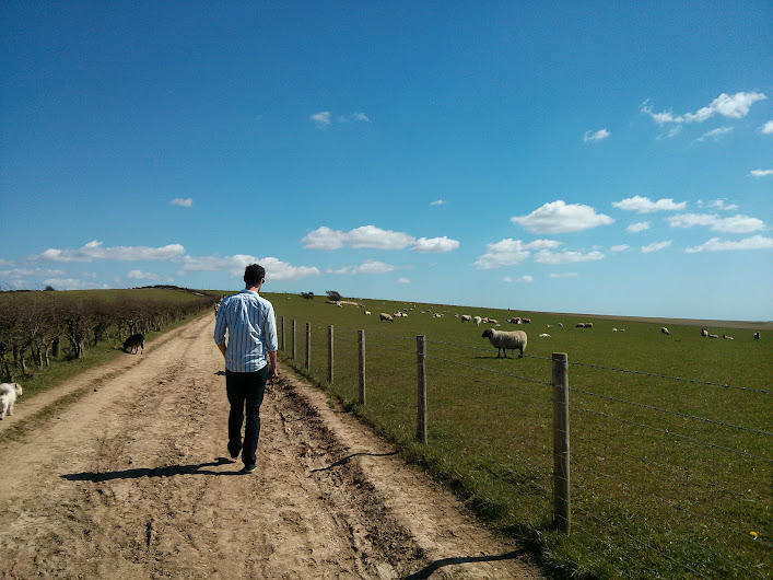 jon walking on the south downs