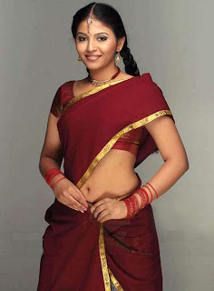 Actress Anjali in Maroon Half Sari