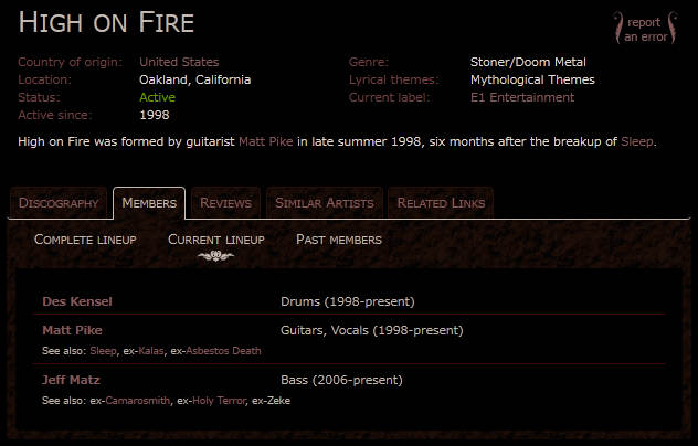 HIGH ON FIRE - member