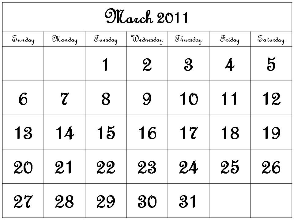 calendars printable 2011. Free Homemade Calendar 2011