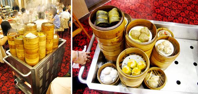 各式大點,冒著熱氣與香氣,讓人飢腸轆轆啊!-大大茶樓台中港式飲茶
