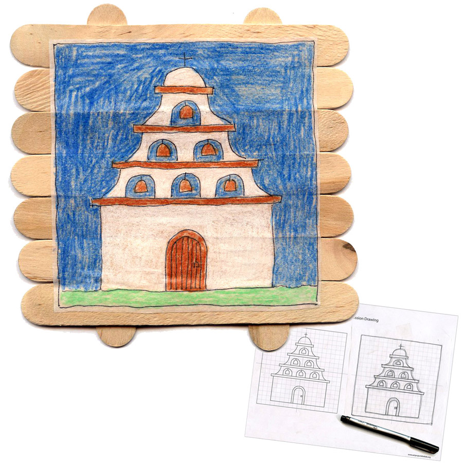 Mission drawing on popsicle sticks art projects for kids for Popsicle art projects