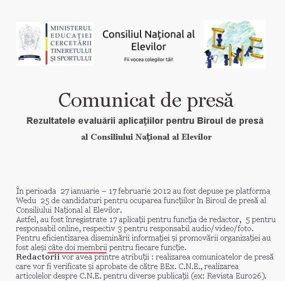 Comunicat analfabet al Consiliului Naţional al Elevilor