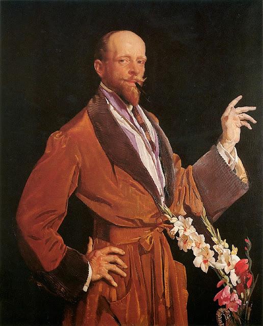 George Lambert - Self-Portrait with Gladioli