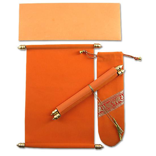 Invitación pergamino naranja para quinceañera