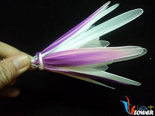 làm hoa quỳnh bằng vải voan chụp nghiêng
