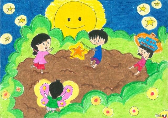 Tranh trẻ em vui chơi tết Trung Thu