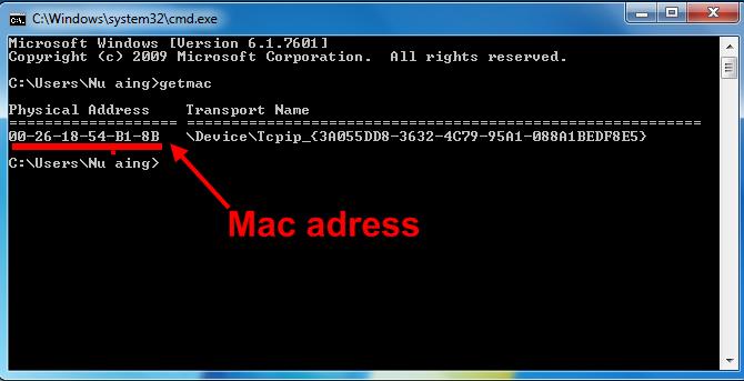 Cara cek mac adress